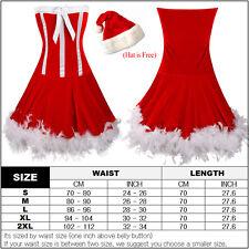 Women Christmas Santa Costume Corset Outfit Dress Party Skirt Xmas Body Shaper
