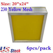 "USA! 6Pcs 20"" x 24"" Aluminum Screen Printing Screens Frame With 230 Yellow Mesh"