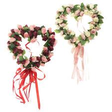Artificial Silk Rose Flower Wreath Heart Garland Home Wedding Venue Decor
