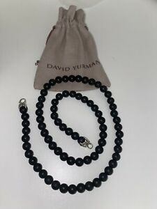 David Yurman 8mm Spiritual Beads Black Onyx Chain 22 Inch