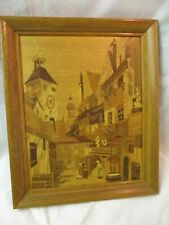 Vintage Germany Buchschmid Gretaux inlaid wood Picture Landsberg Witches Quarter