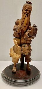 RARE ANTIQUE JAPANESE BURL WOOD CARVED STATUE OF A WISE MAN