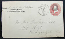US Postal History Stationery Cover Boulder Fancy Cancel 1885 GS USA Brief H-6831