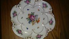 "JLMENAU Graf von Henneberg Porcelain 12""  Platter Rose Floral Gold W. Germany"