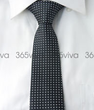 Black White Dots Mens Skinny Slim Narrow Woven Silk 6.5 cm Necktie Wedding Tie