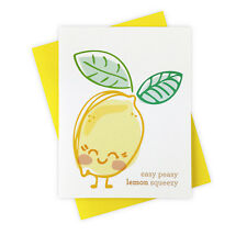 Easy Peasy Lemon Squeezy Illustrated Handmade Encouragement Card for Friend