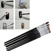 7 Set Gel Acrylic Polish Nail Art Brushes For Tips Drawing Dotting Design New#