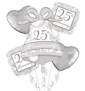 Celebrate 25th Silver Anniversary Balloon Bouquet Party Supply Decoration Favors