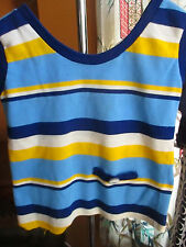 SZ 8-10 True Vtg 70s GIRLS BLUE/GOLD STRIPED KNIT FAUX POCKET TANK Top