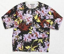 Cardigan Sweater Kenar Medium Black Women's 3/4 Sleeve Top Cotton Nylon Spandex