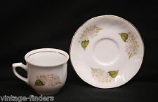 Porcelain Demitasse Expresso Cup & Saucer Set White Rose Gold Trim Korona Poland