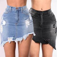 Women High Waist Ripped Denim Bodycon Pencil Mini Jean Skirt Asymmetrical S-XL