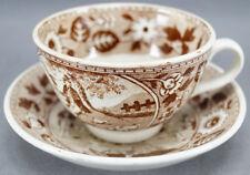 Societe Ceramique Tea Party Brown Dutch Transferware Tea Cup & Saucer 1870 - 91
