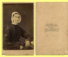 EXC ~1860s CDV copy of Daguerreotype, Old Bonnet Woman by Philadelphia Broadbent