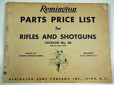 Original 1950 Remington Parts Price List For Rifles And Shotguns, Free Shipping