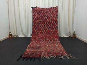 "Berber Vintage Handmade Moroccan Rug 3'41""x 8'13"" Tribal Wool Checkered Carpet"
