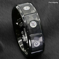 8mm Black Brushed Rock Skin Tungsten Ring 3 Diamonds Inlay ATOP Men Bridal Band