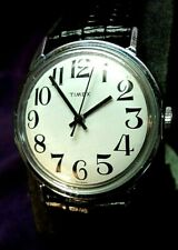 Serviced~E-Z READ Dial 1970s Timex Winding Mechanical Mens Watch X-LONG STRAP