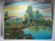 """Oil Painting """"Sunrise of the Heart"""" Original Signed """"Bonnie"""" 1998 Forest Pond"""