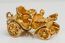 Vintage 9ct Yellow Gold Old Fashioned Motor Car Moveable Charm