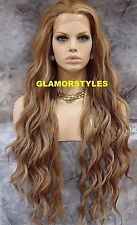Lace Front Full Wig Extra Long Wavy Layered Ash Blonde Brown Mix Heat OK NWT
