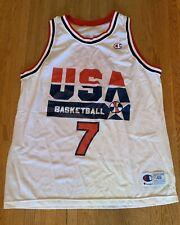Champion Larry Bird #7 Dream Team USA 1992 NBA Jersey White 48 Vtg Celtics Rare