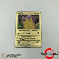 Carte Pokemon Metal Gold / Pikachu - EX GX Card Fan Made Custom