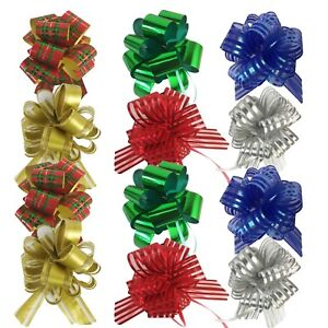 Allgala 12 Pack Christmas Pull Flower Gift Wrapping Bows