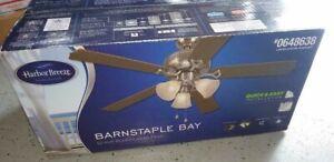 Harbor Breeze Barnstaple Bay 52-in Brushed Nickel Ceiling Fan w/ Light Kit NIB