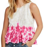 Free People Women's Top Hibiscus Pink Size Large L Knit Tie Dye Tank $58 #259