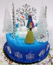 Disney Frozen Princess Elsa, Anna & Olaf Winter Wonderland Birthday Cake Topper