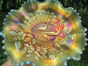 Northwood PEACOCKS ANTIQUE CARNIVAL ART GLASS RUFFLED BOWL~AQUA OPALESCENT