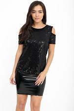 Black Sequin Bling Shiny Tank Top Cut Out Cold Shoulder T Shirt Blouse Evening