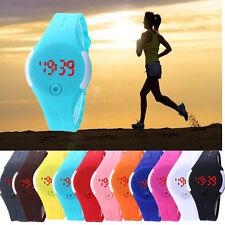 Mujer Sport Relojes Fecha Digital LED Resistente al agua Reloj de pulsera Goma