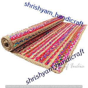 Rectangle Jute & Cotton Handmade Natural Rug Braided Rag Area Rugs Floor Carpet