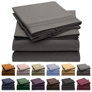 Mellanni 4-Piece Bed Sheet Set, Deep Pocket, Wrinkle, Stain Resistant Microfiber