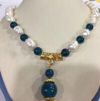 Hot 10-11mm Süßwasser Zuchtreis Perle + Apatit Halskette Anhänger 14mm