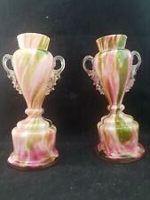 """ANTIQUE PAIR OF  """"AFTER THE DAY WARE"""" VASES ~VICTORIAN~EARLY ART GLASS"""
