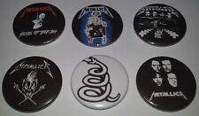 6 Metallica button badges Kill em all Ride the Lightning Metal up your ass