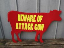 """Large 32"""" Beware Of Attack Cow Metal Wall Sign Primitive Country Farm Sign 9272"""