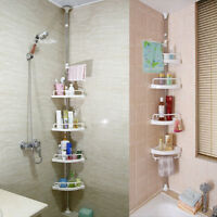 4TIER BATHROOM SHOWER KITCHEN HANGING CORNER SHELF CADDY STORAGE RACK TOWEL RAIL