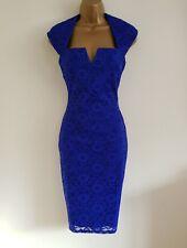 NEW Ex DP 8 10 12 Blue Lace Pencil Shift Dress Wedding Occasion