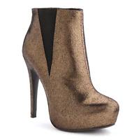 """Rock & Republic Platform High Heel Ankle Boots - Women - 5"""" heel - Bronze -6 med"""