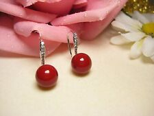 Earring Gold Plated 10 mm Shell Pearls Pearls Jewelry Zirconia Red Pretty