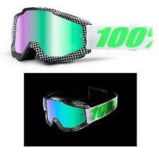 100% Por Cien MX Motocross Gafas 2016 ACCURI Newsworthy verde de espejo Esquí