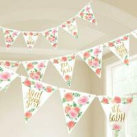 SWEET BABY GIRL Wall Pennant Banners Shower Room Decorations Gold Pink Flowers
