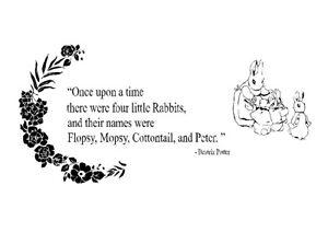 Peter Rabbit Beatrix Potter inspired Self adhesive vinyl wall decal sticker