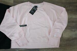 NWT NIKE Logo Women's Plus Size Cropped Logo Sweatshirt Pink Black 1X 2X 3X
