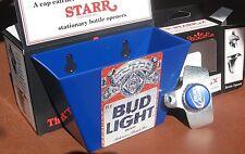 BUD LIGHT Beer Bottle Opener & Card / Cap Catcher Sports Bar Pub Budweiser NIB