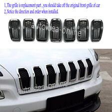 Chrome+Black Front Grille Inserts Mesh Trim Accessories fit Jeep Cherokee 2014+